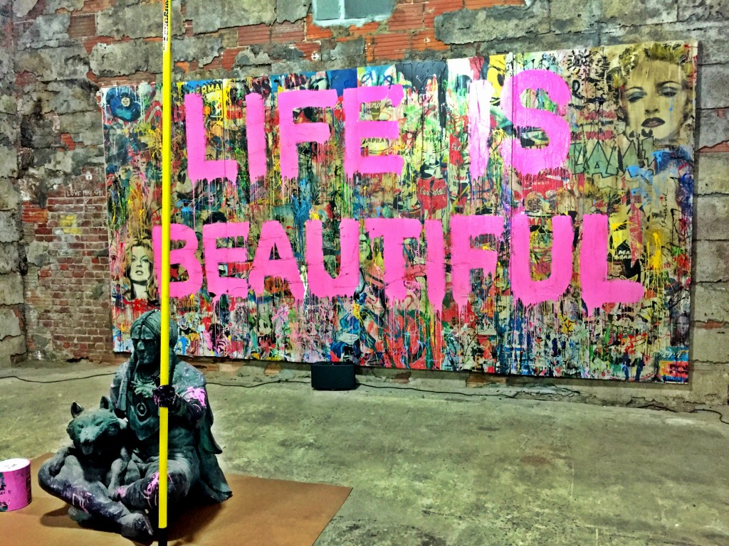 Weekend Agenda:  Mr. Brainwash Installation